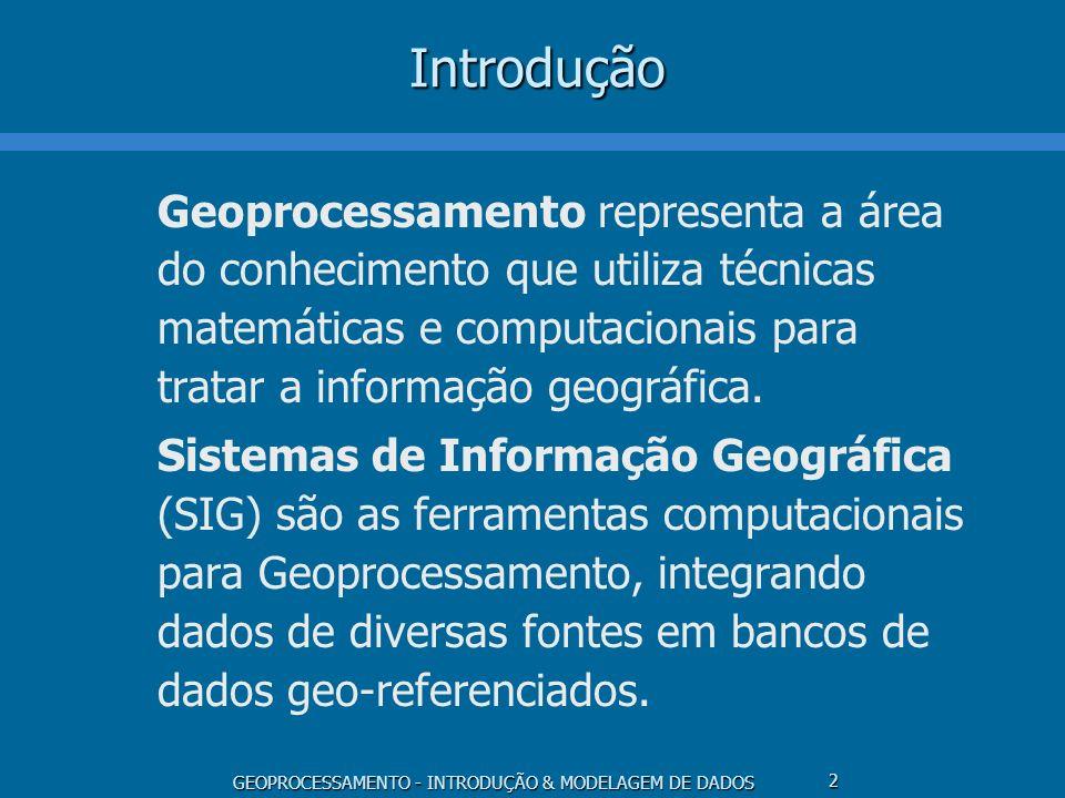 GEOPROCESSAMENTO - INTRODUÇÃO & MODELAGEM DE DADOS 2Introdução Geoprocessamento representa a área do conhecimento que utiliza técnicas matemáticas e c