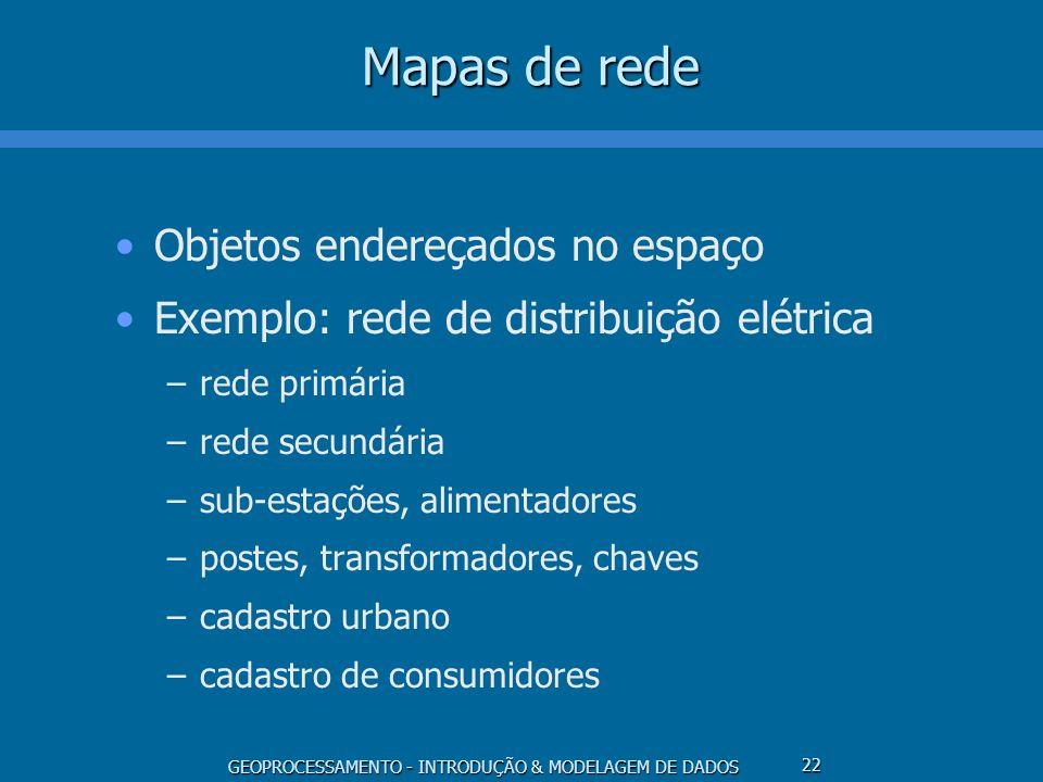 GEOPROCESSAMENTO - INTRODUÇÃO & MODELAGEM DE DADOS 22 Mapas de rede Objetos endereçados no espaço Exemplo: rede de distribuição elétrica –rede primári