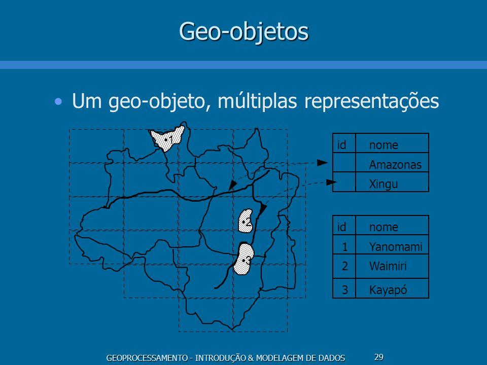 GEOPROCESSAMENTO - INTRODUÇÃO & MODELAGEM DE DADOS 29Geo-objetos Um geo-objeto, múltiplas representações 1 2 3 idnome Amazonas Xingu idnome Yanomami W
