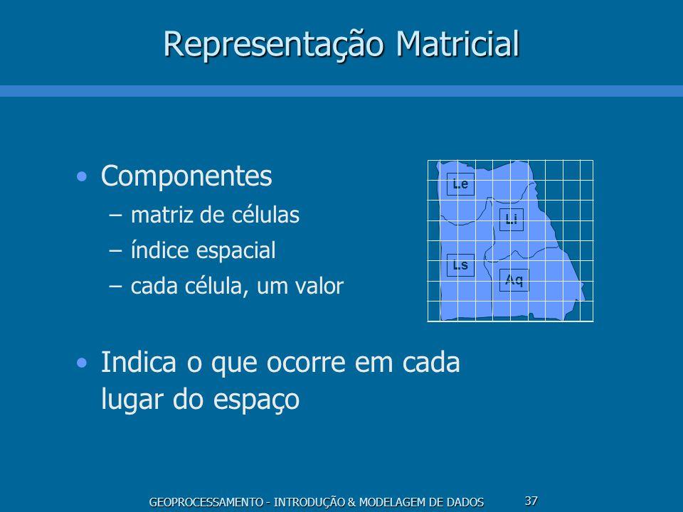 GEOPROCESSAMENTO - INTRODUÇÃO & MODELAGEM DE DADOS 37 Representação Matricial Componentes –matriz de células –índice espacial –cada célula, um valor I