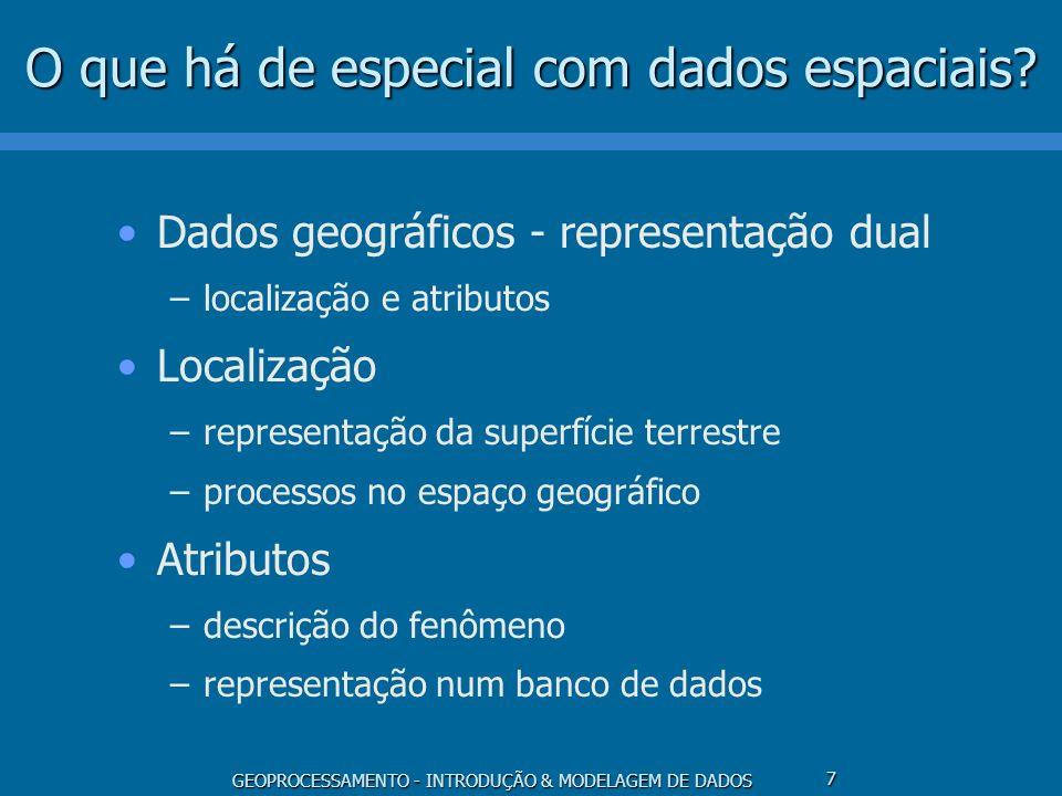 GEOPROCESSAMENTO - INTRODUÇÃO & MODELAGEM DE DADOS 7 O que há de especial com dados espaciais? Dados geográficos - representação dual –localização e a