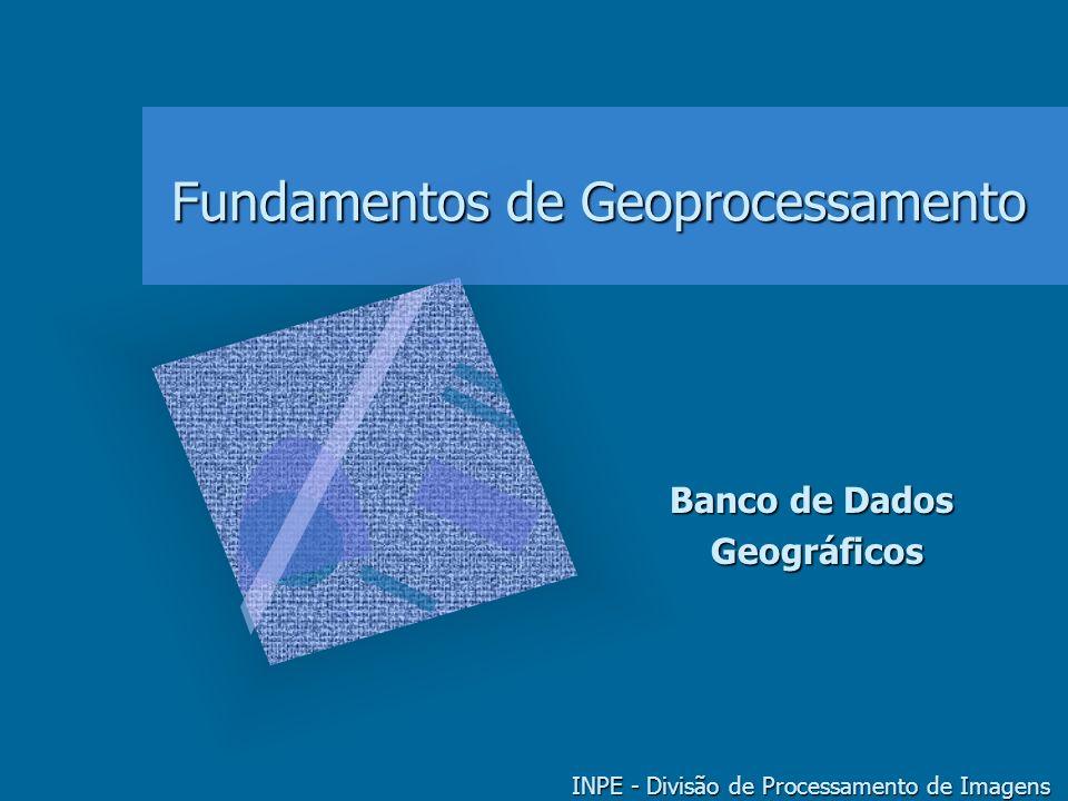 GEOPROCESSAMENTO - BANCO DE DADOS GEOGRÁFICOS 22 3 a geração de SIG: BD espacial Desafios do Geoprocessamento –integração de informação –grandes bases de dados espaciais Iniciativas de pesquisa –EOS (Earth Observation System) –digital library technology (NASA) –GEOTEC (CNPq) INPE, UNICAMP, IBM, UFPe, PUC/RJ, UFRJ, UFG, PETROBRÁS, EMBRAPA, TELEBRÁS