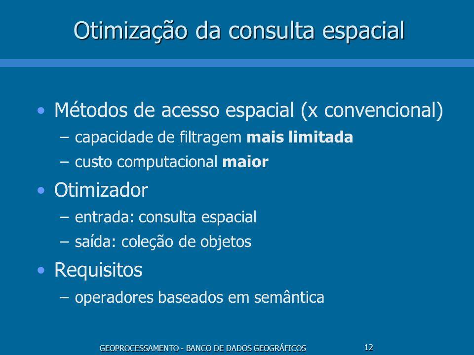 GEOPROCESSAMENTO - BANCO DE DADOS GEOGRÁFICOS 12 Otimização da consulta espacial Métodos de acesso espacial (x convencional) –capacidade de filtragem