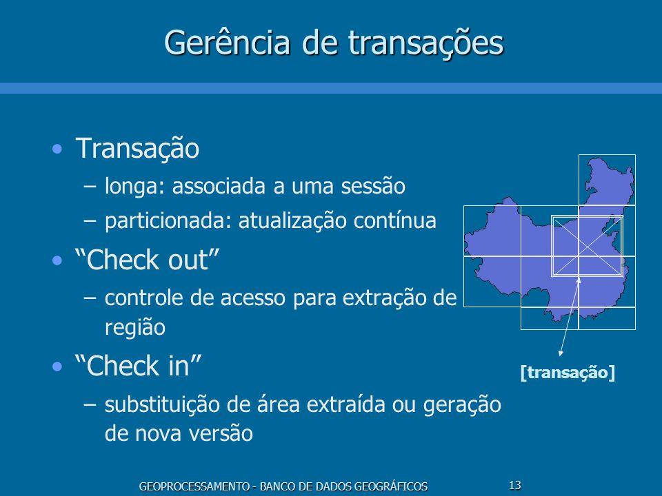 GEOPROCESSAMENTO - BANCO DE DADOS GEOGRÁFICOS 13 Gerência de transações Transação –longa: associada a uma sessão –particionada: atualização contínua C