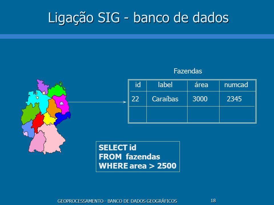 GEOPROCESSAMENTO - BANCO DE DADOS GEOGRÁFICOS 18 Ligação SIG - banco de dados idlabelárea 22Caraíbas3000 Fazendas numcad 2345 SELECT id FROM fazendas