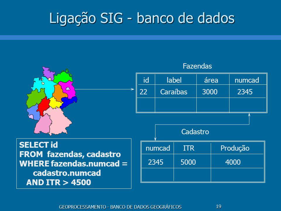 GEOPROCESSAMENTO - BANCO DE DADOS GEOGRÁFICOS 19 Ligação SIG - banco de dados idlabelárea 22Caraíbas3000 numcadITRProdução 2345 50004000 Fazendas Cada