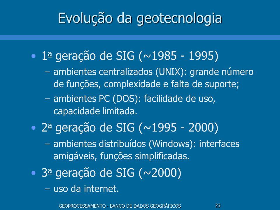 GEOPROCESSAMENTO - BANCO DE DADOS GEOGRÁFICOS 23 Evolução da geotecnologia 1 a geração de SIG (~1985 - 1995) –ambientes centralizados (UNIX): grande n