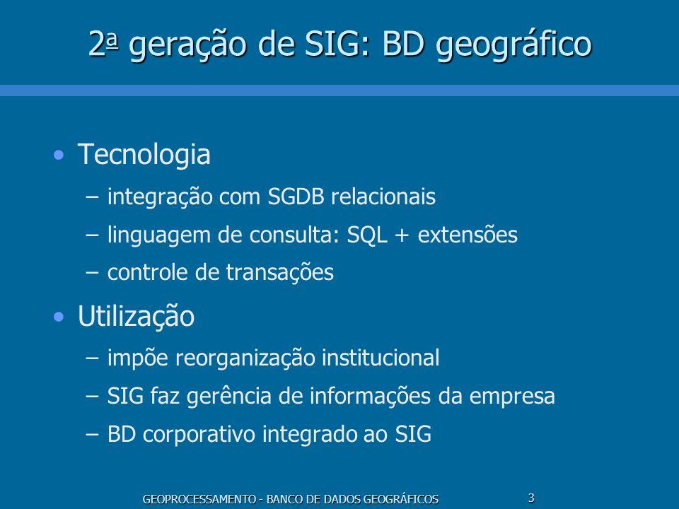 GEOPROCESSAMENTO - BANCO DE DADOS GEOGRÁFICOS 3 2 a geração de SIG: BD geográfico Tecnologia –integração com SGDB relacionais –linguagem de consulta: