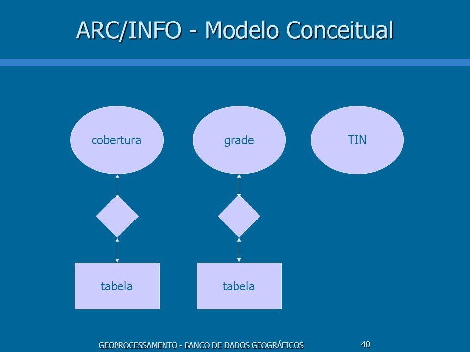 GEOPROCESSAMENTO - BANCO DE DADOS GEOGRÁFICOS 40 ARC/INFO - Modelo Conceitual cobertura tabela gradeTIN tabela