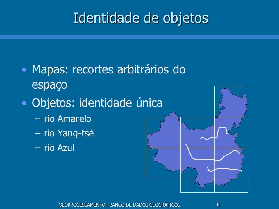 GEOPROCESSAMENTO - BANCO DE DADOS GEOGRÁFICOS 39 ARC/INFO - Modelo Conceitual Associado às representações Cobertura –dado vetorial associado a uma tabela –mapas cadastrais, campos temáticos (vetoriais) Grade regular –dado matricial associado a uma tabela –campos temáticos (matriciais), campos numéricos Grade triangular –campos numéricos