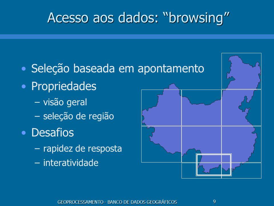 GEOPROCESSAMENTO - BANCO DE DADOS GEOGRÁFICOS 9 Acesso aos dados: browsing Seleção baseada em apontamento Propriedades –visão geral –seleção de região