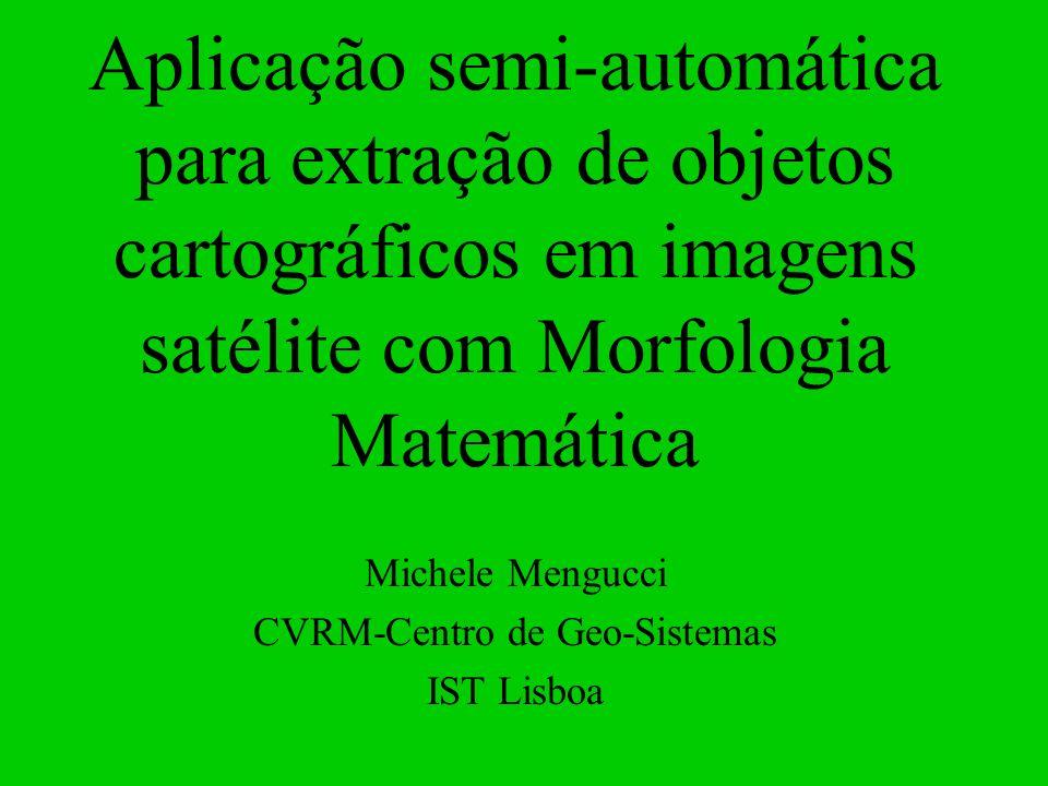 Aplicação semi-automática para extração de objetos cartográficos em imagens satélite com Morfologia Matemática Michele Mengucci CVRM-Centro de Geo-Sis