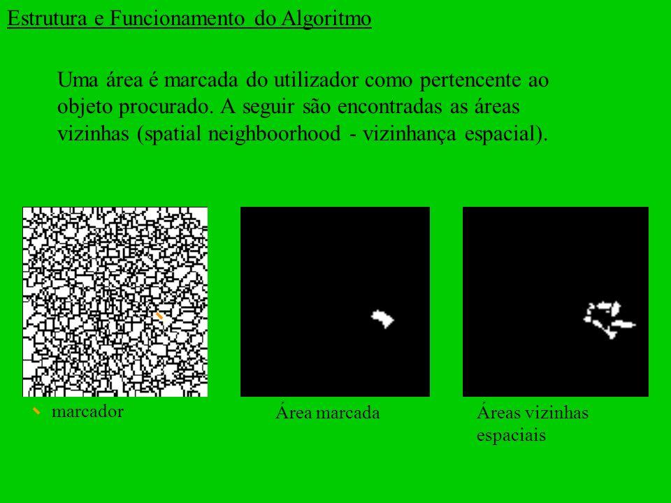 Uma área é marcada do utilizador como pertencente ao objeto procurado. A seguir são encontradas as áreas vizinhas (spatial neighboorhood - vizinhança
