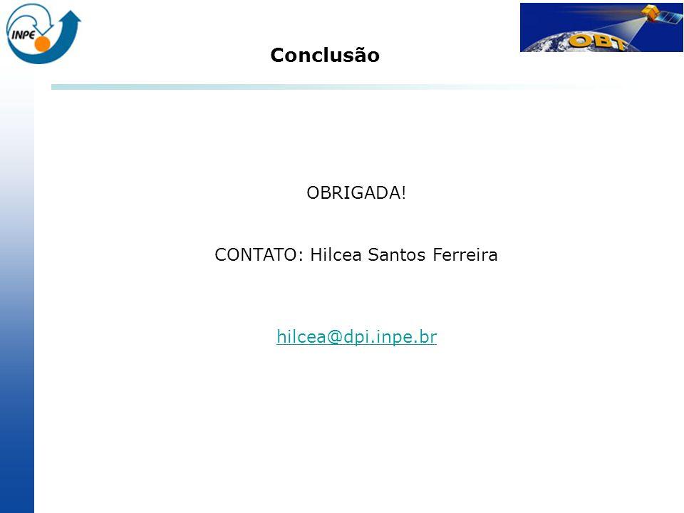 OBRIGADA! CONTATO: Hilcea Santos Ferreira hilcea@dpi.inpe.br Conclusão
