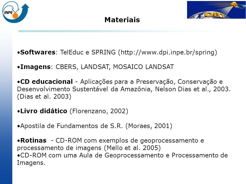 Softwares: TelEduc e SPRING (http://www.dpi.inpe.br/spring) Imagens: CBERS, LANDSAT, MOSAICO LANDSAT CD educacional - Aplicações para a Preservação, C