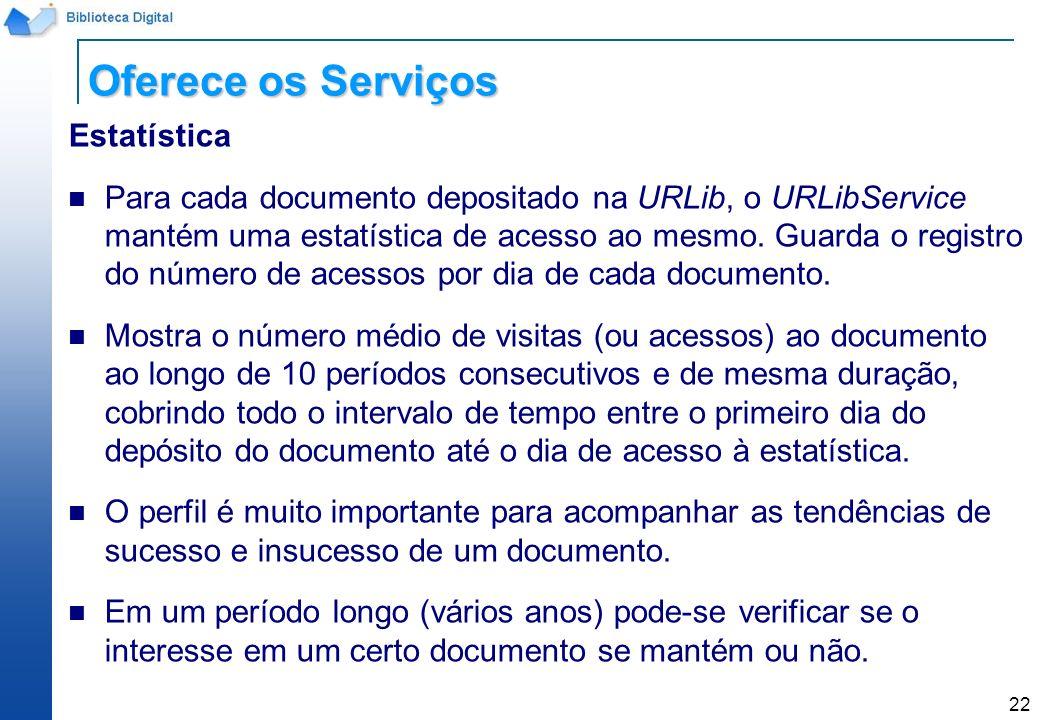 22 Estatística Para cada documento depositado na URLib, o URLibService mantém uma estatística de acesso ao mesmo. Guarda o registro do número de acess