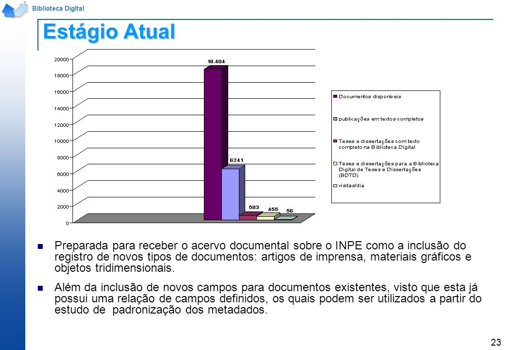 23 Preparada para receber o acervo documental sobre o INPE como a inclusão do registro de novos tipos de documentos: artigos de imprensa, materiais gr