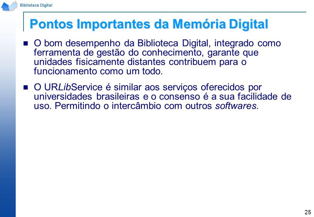 25 O bom desempenho da Biblioteca Digital, integrado como ferramenta de gestão do conhecimento, garante que unidades fisicamente distantes contribuem