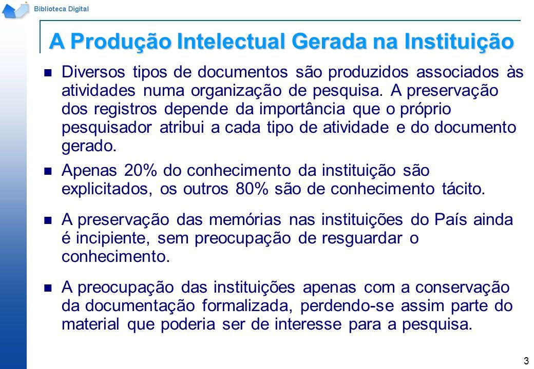 14 Submissão de trabalhos Todo trabalho produzido e publicado dentro do Instituto, bem como aquele publicado fora, deve ser registrado, armazenado e disseminado num repositório.
