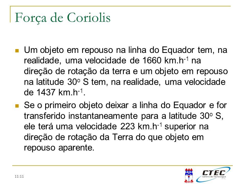 11:11 Força de Coriolis Um objeto em repouso na linha do Equador tem, na realidade, uma velocidade de 1660 km.h -1 na direção de rotação da terra e um