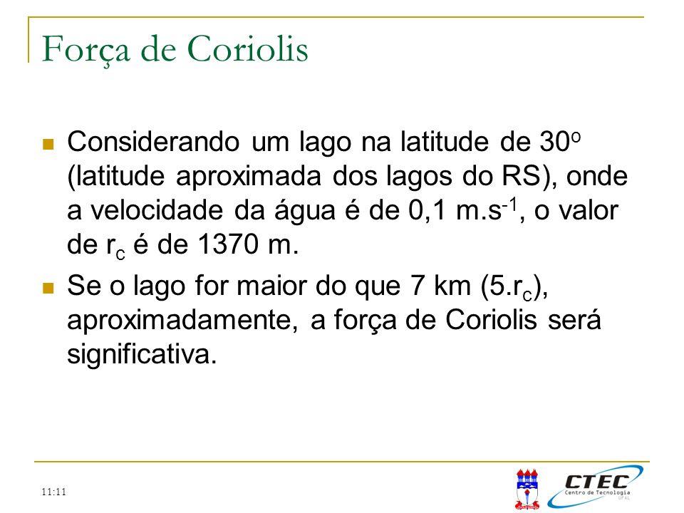 11:11 Força de Coriolis Considerando um lago na latitude de 30 o (latitude aproximada dos lagos do RS), onde a velocidade da água é de 0,1 m.s -1, o v