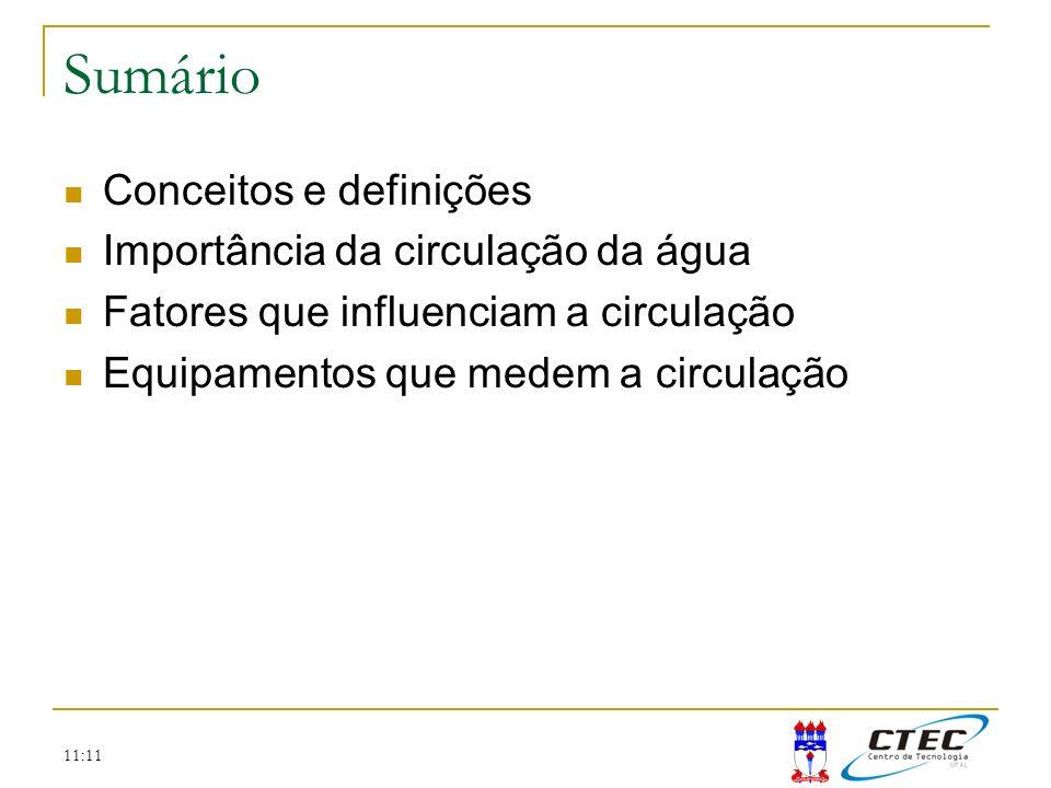 11:11 Sumário Conceitos e definições Importância da circulação da água Fatores que influenciam a circulação Equipamentos que medem a circulação