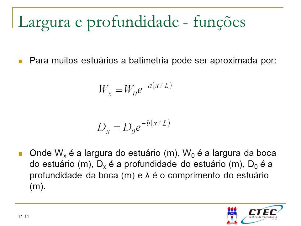 11:11 Largura e profundidade - funções Para muitos estuários a batimetria pode ser aproximada por: Onde W x é a largura do estuário (m), W 0 é a largu