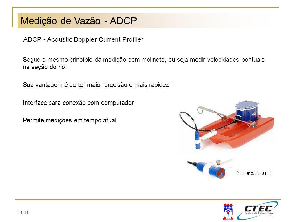 11:11 Medição de Vazão - ADCP ADCP - Acoustic Doppler Current Profiler Segue o mesmo princípio da medição com molinete, ou seja medir velocidades pont