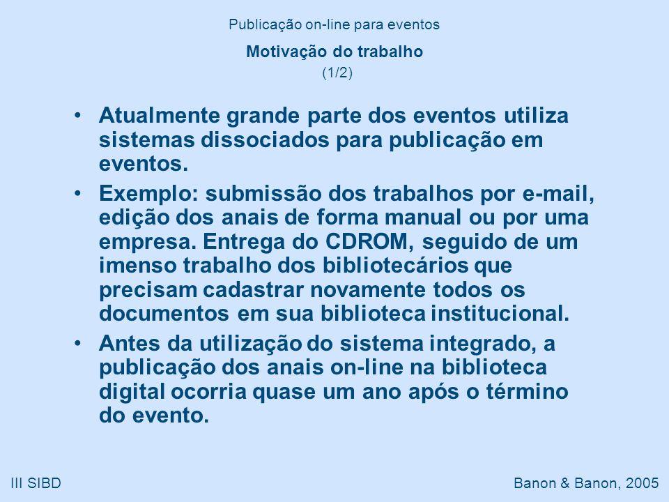 III SIBD Banon & Banon, 2005 Motivação do trabalho (1/2) Atualmente grande parte dos eventos utiliza sistemas dissociados para publicação em eventos.