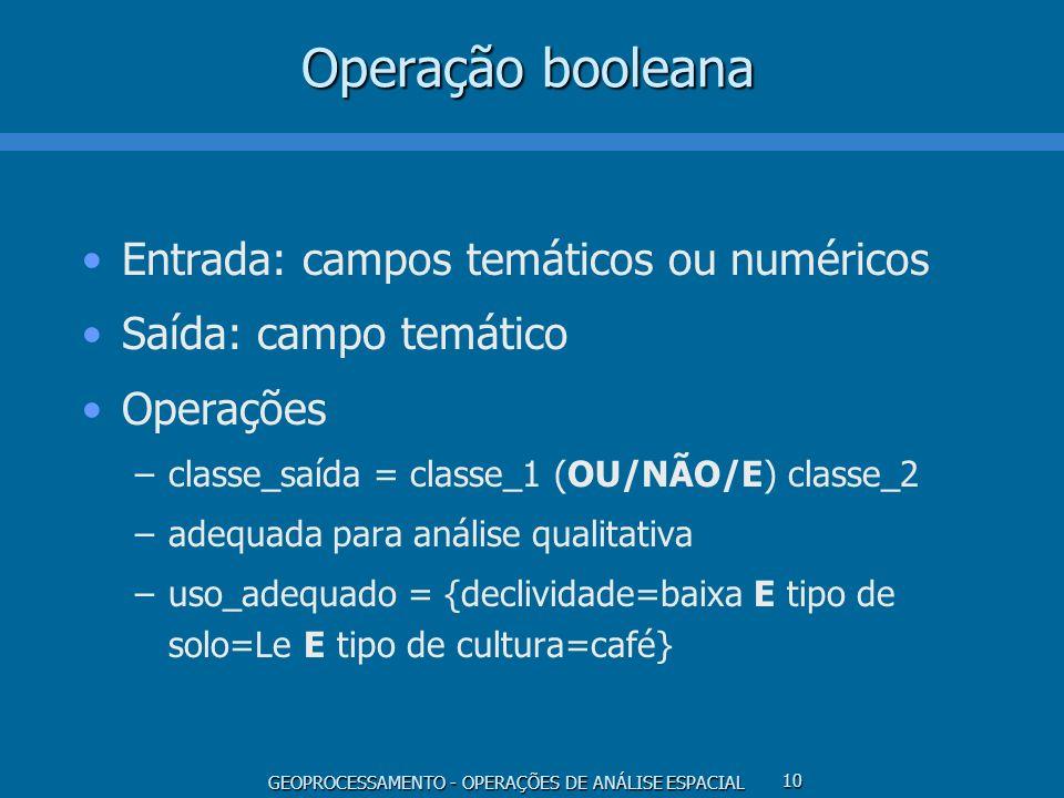 GEOPROCESSAMENTO - OPERAÇÕES DE ANÁLISE ESPACIAL 10 Operação booleana Entrada: campos temáticos ou numéricos Saída: campo temático Operações –classe_s