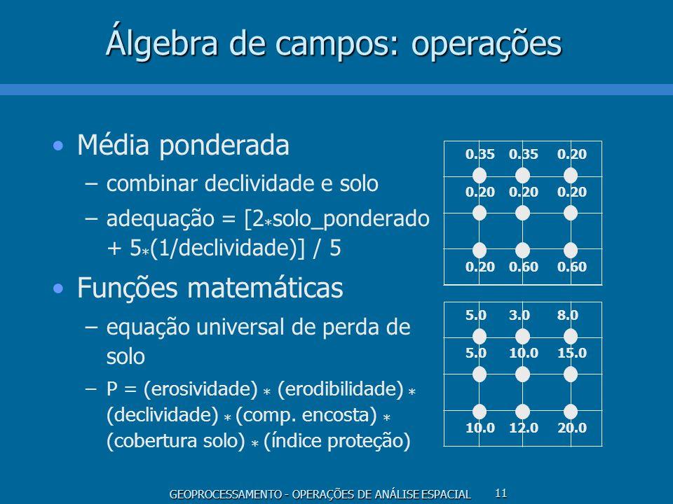 GEOPROCESSAMENTO - OPERAÇÕES DE ANÁLISE ESPACIAL 11 Álgebra de campos: operações Média ponderada –combinar declividade e solo –adequação = [2 * solo_p
