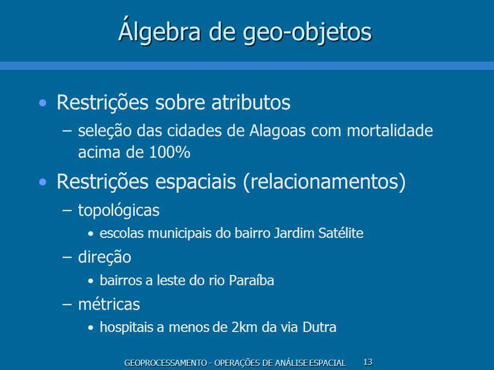 GEOPROCESSAMENTO - OPERAÇÕES DE ANÁLISE ESPACIAL 13 Álgebra de geo-objetos Restrições sobre atributos –seleção das cidades de Alagoas com mortalidade