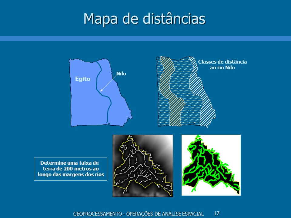 GEOPROCESSAMENTO - OPERAÇÕES DE ANÁLISE ESPACIAL 17 Mapa de distâncias Nilo Egito Classes de distância ao rio Nilo Determine uma faixa de terra de 200