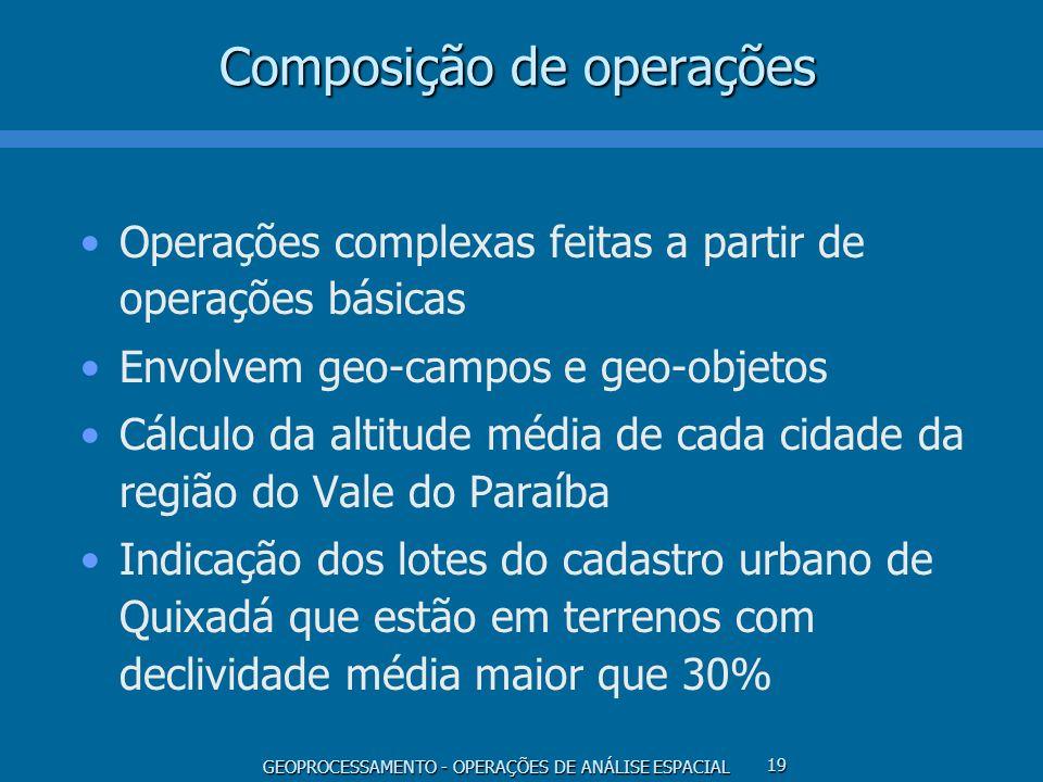 GEOPROCESSAMENTO - OPERAÇÕES DE ANÁLISE ESPACIAL 19 Composição de operações Operações complexas feitas a partir de operações básicas Envolvem geo-camp