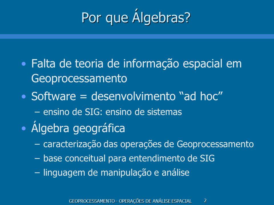 GEOPROCESSAMENTO - OPERAÇÕES DE ANÁLISE ESPACIAL 2 Por que Álgebras? Falta de teoria de informação espacial em Geoprocessamento Software = desenvolvim