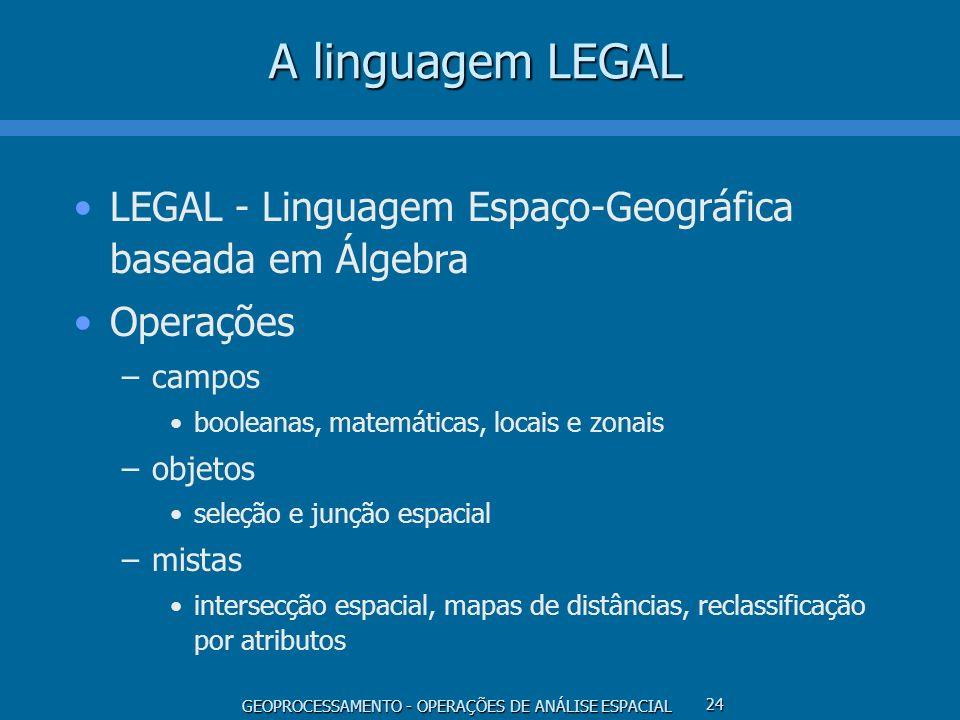 GEOPROCESSAMENTO - OPERAÇÕES DE ANÁLISE ESPACIAL 24 A linguagem LEGAL LEGAL - Linguagem Espaço-Geográfica baseada em Álgebra Operações –campos boolean