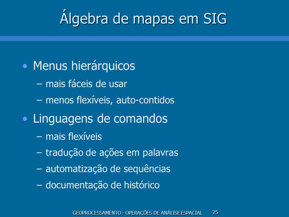 GEOPROCESSAMENTO - OPERAÇÕES DE ANÁLISE ESPACIAL 25 Álgebra de mapas em SIG Menus hierárquicos –mais fáceis de usar –menos flexíveis, auto-contidos Li