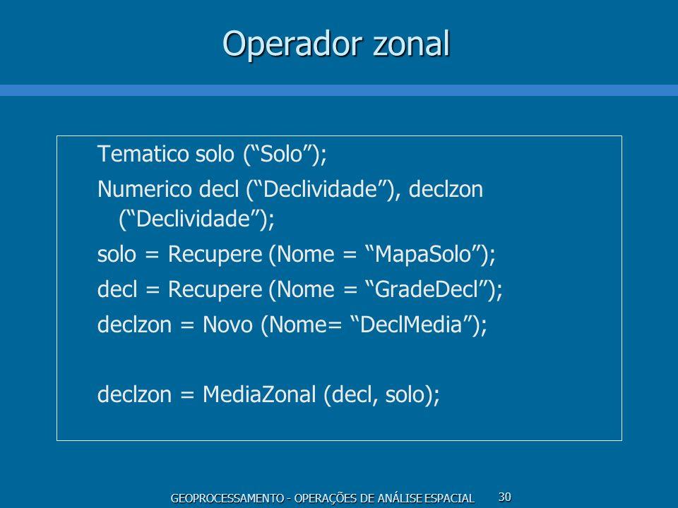 GEOPROCESSAMENTO - OPERAÇÕES DE ANÁLISE ESPACIAL 30 Operador zonal Tematico solo (Solo); Numerico decl (Declividade), declzon (Declividade); solo = Re
