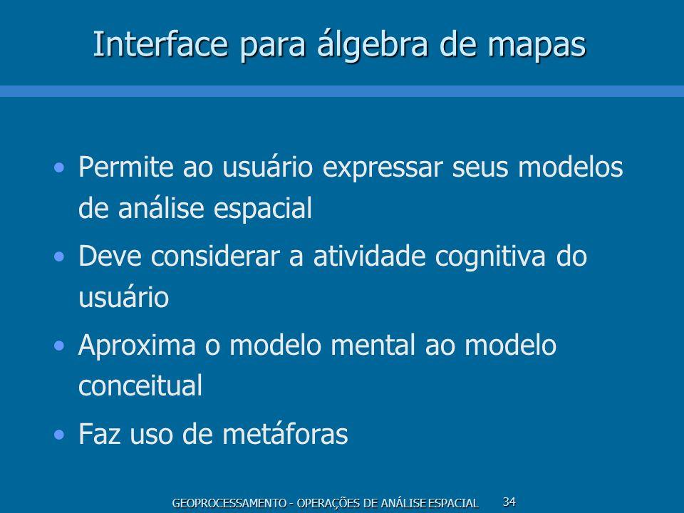 GEOPROCESSAMENTO - OPERAÇÕES DE ANÁLISE ESPACIAL 34 Interface para álgebra de mapas Permite ao usuário expressar seus modelos de análise espacial Deve