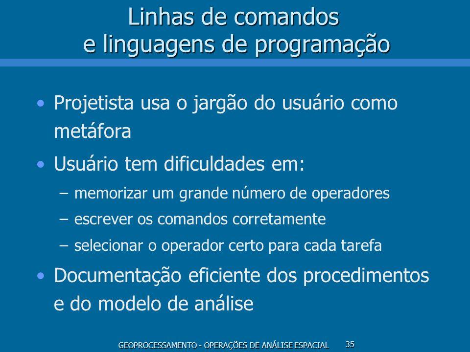GEOPROCESSAMENTO - OPERAÇÕES DE ANÁLISE ESPACIAL 35 Linhas de comandos e linguagens de programação Projetista usa o jargão do usuário como metáfora Us