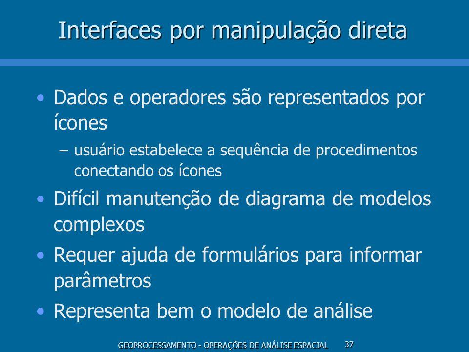 GEOPROCESSAMENTO - OPERAÇÕES DE ANÁLISE ESPACIAL 37 Interfaces por manipulação direta Dados e operadores são representados por ícones –usuário estabel