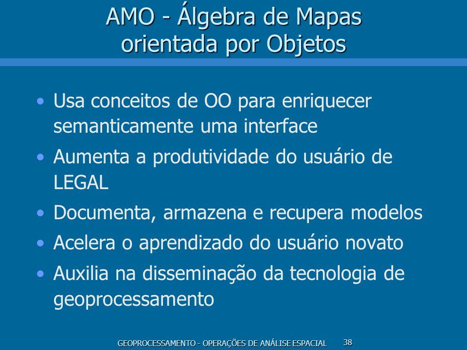 GEOPROCESSAMENTO - OPERAÇÕES DE ANÁLISE ESPACIAL 38 AMO - Álgebra de Mapas orientada por Objetos Usa conceitos de OO para enriquecer semanticamente um