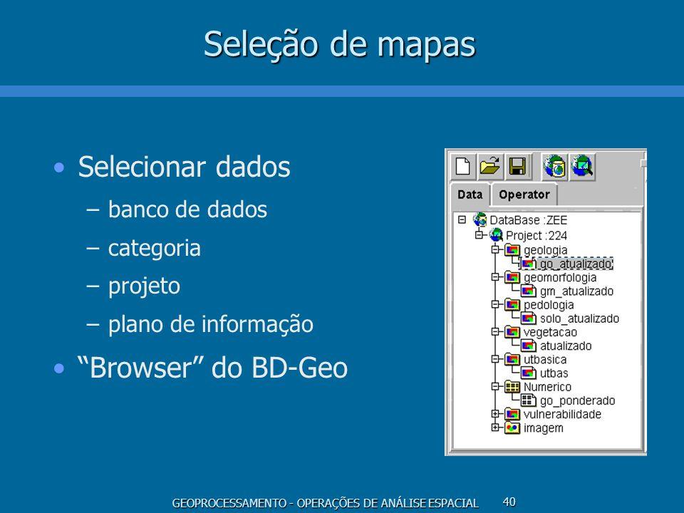 GEOPROCESSAMENTO - OPERAÇÕES DE ANÁLISE ESPACIAL 40 Seleção de mapas Selecionar dados –banco de dados –categoria –projeto –plano de informação Browser