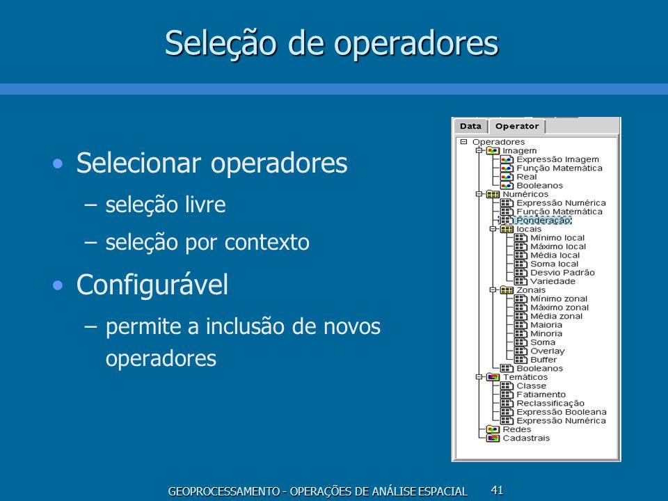 GEOPROCESSAMENTO - OPERAÇÕES DE ANÁLISE ESPACIAL 41 Seleção de operadores Selecionar operadores –seleção livre –seleção por contexto Configurável –per