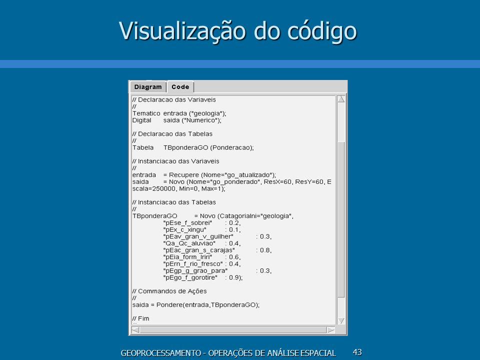 GEOPROCESSAMENTO - OPERAÇÕES DE ANÁLISE ESPACIAL 43 Visualização do código