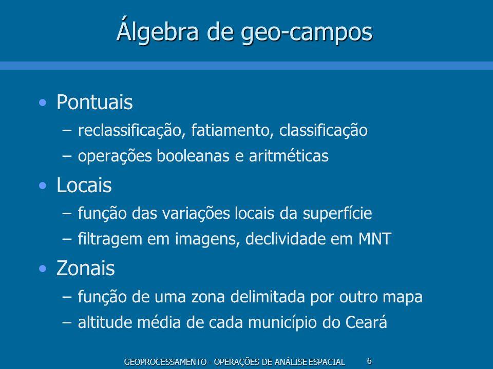 GEOPROCESSAMENTO - OPERAÇÕES DE ANÁLISE ESPACIAL 6 Álgebra de geo-campos Pontuais –reclassificação, fatiamento, classificação –operações booleanas e a
