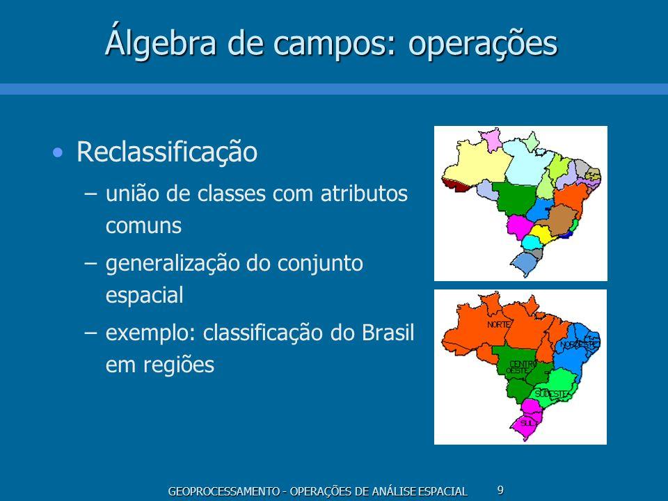 GEOPROCESSAMENTO - OPERAÇÕES DE ANÁLISE ESPACIAL 9 Álgebra de campos: operações Reclassificação –união de classes com atributos comuns –generalização
