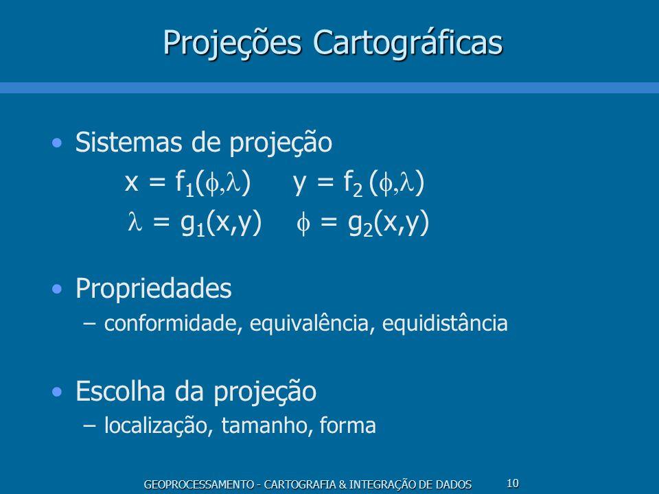 GEOPROCESSAMENTO - CARTOGRAFIA & INTEGRAÇÃO DE DADOS 10 Projeções Cartográficas Sistemas de projeção x = f 1 ( ) y = f 2 ( ) = g 1 (x,y) = g 2 (x,y) P