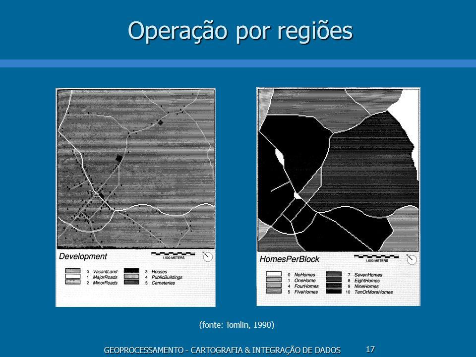 GEOPROCESSAMENTO - CARTOGRAFIA & INTEGRAÇÃO DE DADOS 17 Operação por regiões (fonte: Tomlin, 1990)