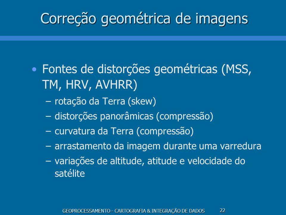 GEOPROCESSAMENTO - CARTOGRAFIA & INTEGRAÇÃO DE DADOS 23 Correção geométrica de imagens Transformação geométrica –modelo de correções independentes –modelo fotogramétrico –modelo polinomial (registro de imagens) Mapeamento inverso Reamostragem (interpolação) –vizinho mais próximo –bilinear –convolução cúbica